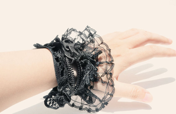 Black Lacing Women's bracelet, black zipper jewelry.