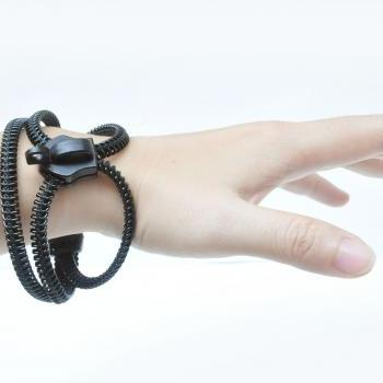 Wapped bracelets, zipper jewelry, rocker black urban design.